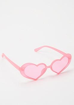 Neon Pink Rhinestone Heart Sunglasses