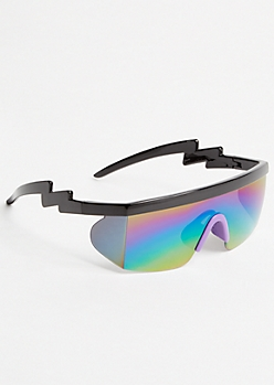 Rainbow Mirrored Zig Zag Shield Sunglasses