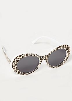 Cheetah Print Oval Sunglasses