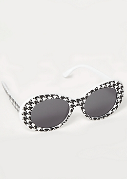 Houndstooth Print Oval Sunglasses