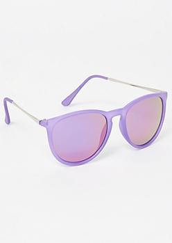 Purple Mirrored Cat Eye Sunglasses