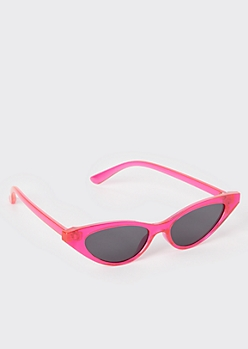 Neon Pink Skinny Cat eye Sunglasses