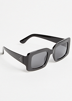 Black Wide Rectangular Sunglasses