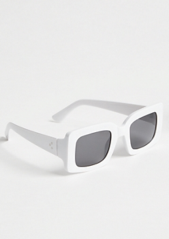 White Wide Rectangular Sunglasses