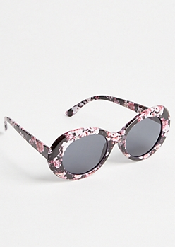 Black Floral Print Oval Sunglasses