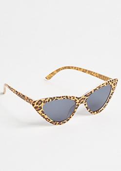Leopard Print Skinny Cat Eye Sunglasses