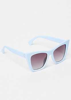 Blue Oversized Cat Eye Sunglasses