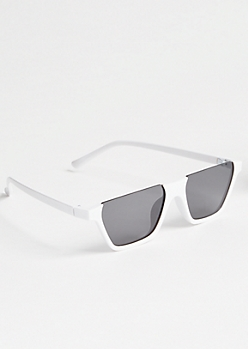 White Flat Square Retro Sunglasses
