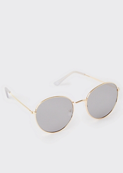 Gold Gray Lens Round Sunglasses