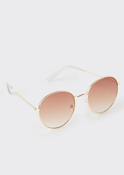 Gold Brown Lens Round Sunglasses