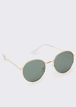 Gold Black Lens Round Sunglasses