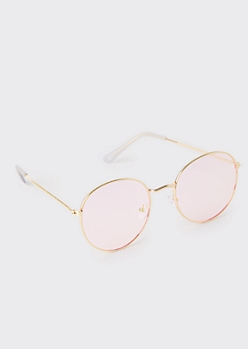 Gold Pink Lens Round Sunglasses