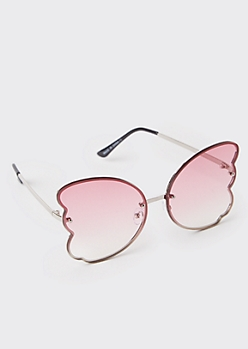 Pink Butterfly Wing Sunglasses
