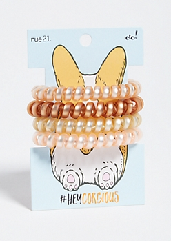 4-Pack Neutral Corgi Spiral Hair Tie Set