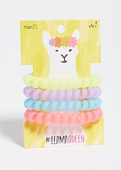 4-Pack Neon Llama Spiral Hair Tie Set