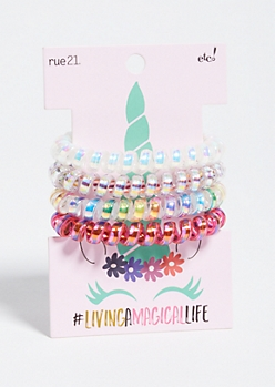 4-Pack Iridescent Unicorn Spiral Hair Tie Set