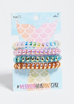 4-Pack Iridescent Mermaid Spiral Hair Tie Set