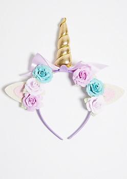 Purple Flower Crown Glitter Unicorn Headband