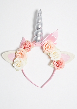 Pink Flower Crown Glitter Unicorn Headband