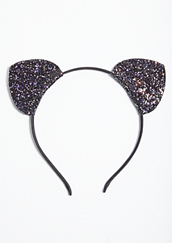 Black Glitter Cat Ears Headband