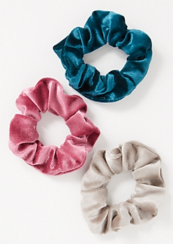 3-Pack Teal Velvet Scrunchie Set