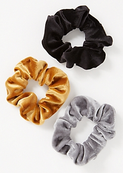 3-Pack Gold Velvet Scrunchie Set