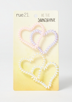 4-Pack Pastel Mini Heart Hair Coils