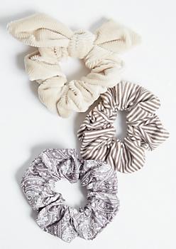 3-Pack Beige Paisley Bow Scrunchie Set