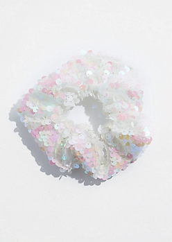 White Sequin Scrunchie