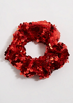 Red Sequin Scrunchie