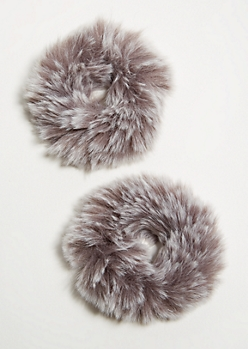 2-Pack Gray Faux Fur Scrunchie Set