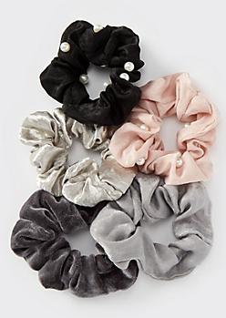 5-Pack Velvet Pearl Scrunchies