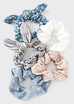 5-Pack Blue Striped Denim Bow Scrunchie Set