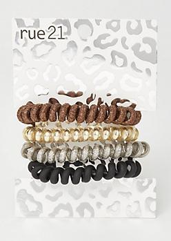 4-Pack Bronze Spiral Hair Tie Set
