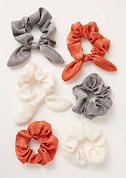 6-Pack Burnt Orange Satin Bow Scrunchie Set