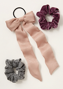 3-Pack Taupe Velvet Ribbon Scrunchie Set