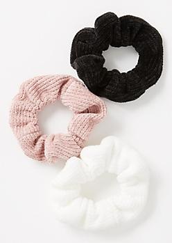 3-Pack Mauve Chenille Scrunchie Set