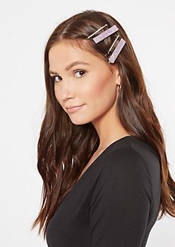 4-Pack Purple Resin Hair Pin Set