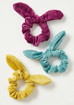 3-Pack Bright Corduroy Bow Scrunchie Set