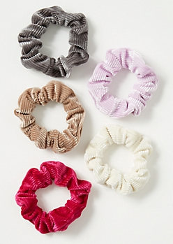 5-Pack Basic Corduroy Scrunchie Set