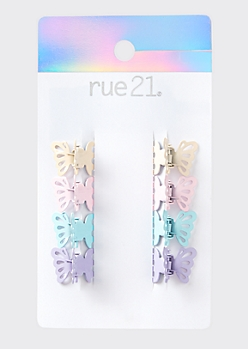 Pastel Butterfly Mini Hair Clip Set