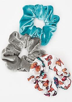 3-Pack Velvet Butterfly Hair Scrunchie Set