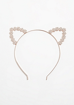 Rose Gold Rhinestone Cat Ear Headband
