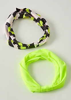 2-Pack Neon Green Leopard Print Headband Set