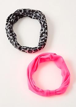 2-Pack Neon Pink Leopard Print Headband Set