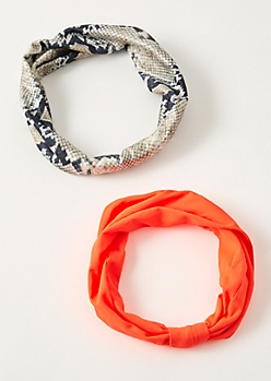 2-Pack Neon Orange Snakeskin Print Headband Set