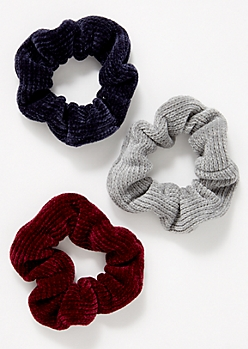 3-Pack Burgundy Chenille Scrunchie Set