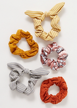 5-Pack Boho Bow Scrunchie Set