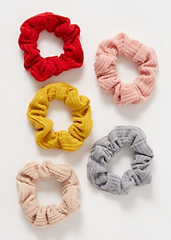 5-Pack Ribbed Knit Sweater Scrunchie Set