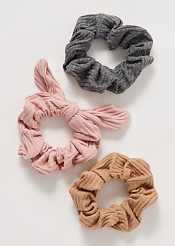 3-Pack Pink Ribbed Knit Scrunchie Set